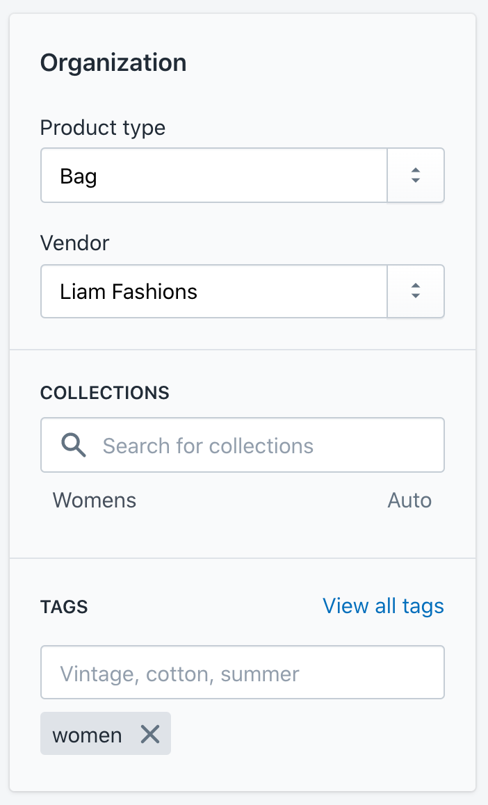 Product Organisation options in Shopify