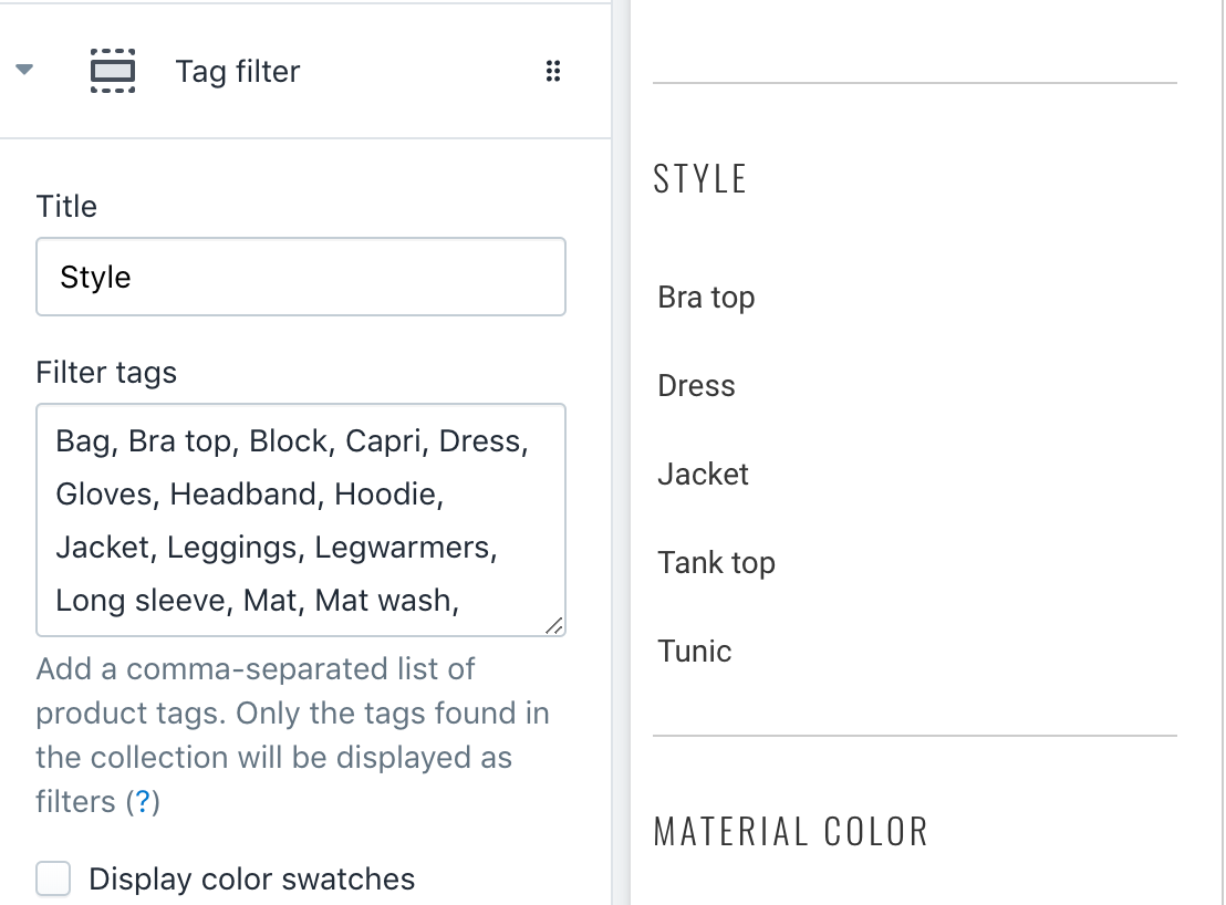 Example: Grouping a tag filter in the theme customiser